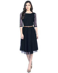 Muta Fashions Women's Semi Stitched Casual Net Black Kurti $ KURTI53