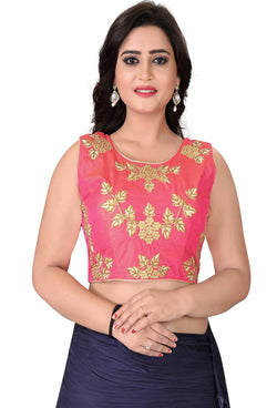 YOYO Fashion Peach Silk Embriodered Extra Sleeve With Blouse $BL4001-Peach