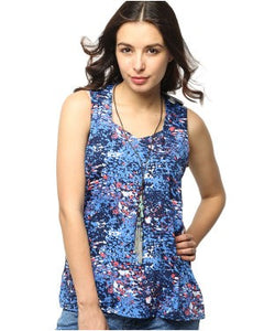 American Swan Blue And Multi S/L Top