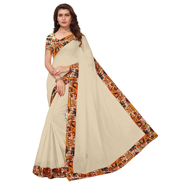 16to60trendz Beige Chanderi Lace Work Chanderi Saree $ SVT00118