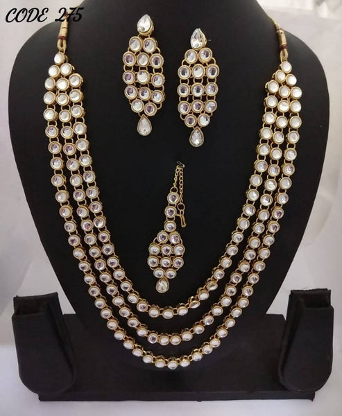 Gold Plated Alloy Metal Hand Crafted Work Women's Three layerd kundan necklace set $ AF788629