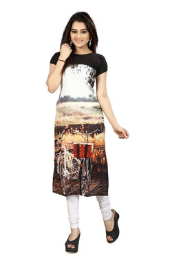 Manvi Fashion Women's Designer Partywear Multi Color American Crepe Fabric Digital Printed Readymade Kurti $ MF 2826