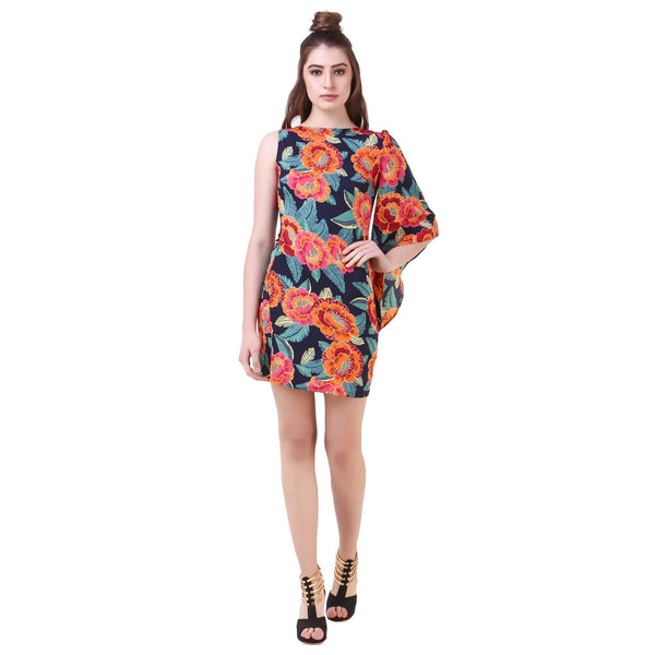 Fame 16  Florals Women's Round Neck Orange Crepe Dress $ F16-1600157