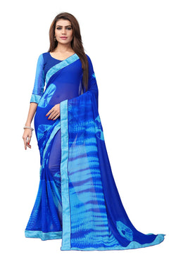 YOYO Fashion Printed Georgette Blue Saree With Blouse $ YOYO-SARI2616-Blue