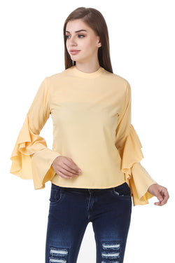 Fashians Solids Yellow Crepe Top $ FS-1700023