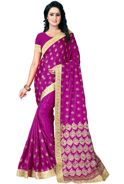 YOYO Fashion Paper Silk Pink Embroidered Saree With Blouse $SARI2594
