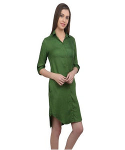 REDPOSE OLIVE SHIRT DRESS