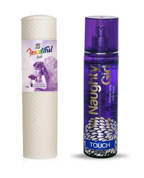 BEAUTIFUL TALC 250gm ANGELIC & Naughty Girl TOUCH 135 ml (Set of 2 for Women)