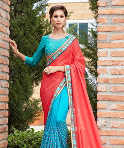 Red Banglori Silk And Georgette Embroidery Saree with Blouse