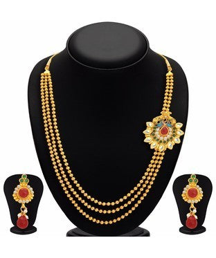 Sukkhi Exquitely Pecock Gold Plated Necklace Set For Women