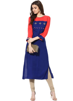 Mytri Women's Blue & Pink Rayon Embroidered Straight Kurta $ 9000484-BLUEPINK