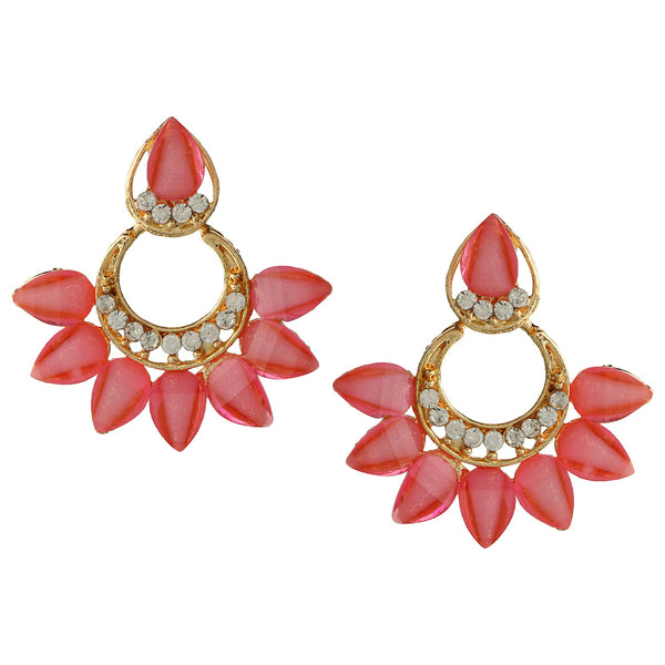 Parna Charming Baby Pink Crystal Diamond Alloy Gold Plated Drop Earring $ EAR-205