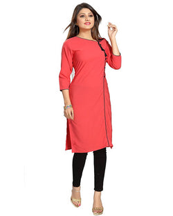 Muta Fashions Women's Semi Stitched Casual Cotton Blend Pink Kurti $ KURTI361
