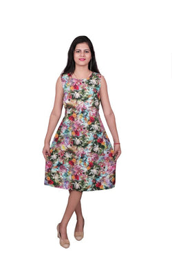 Libas Cotton Dress, One Piece Dress with Flower Print Dress, Perfect for Any Casuals,Office,meetups,Outing.Jacket is Detachable $ Libas-065