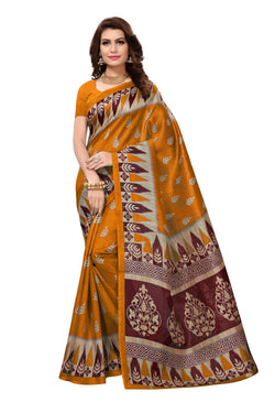 16TO60TRENDZ Yellow Color Printed Bhagalpuri Silk Saree $ SVT00476