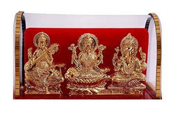Gold Plated Lord Ganesh & Maa Lakshmi & Sarswati Acrylic Idol/Hindu God Ganpathi & Goddess Laxmi Pooja Mandir/Car Dashboard/Office Tabel $ IGSPBR101030