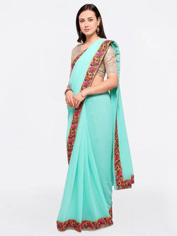 Umang NX Turquoise Chiffon Designer Embroidery Sarees $ UN5706