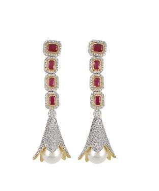aradhya Ruby Brass Dangle Earring