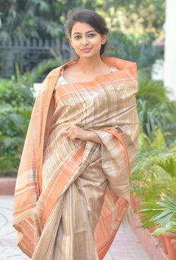 Beige and Peach Ghicha Silk Sarees $ IWK-ORG-01