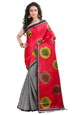 16TO60TRENDZ Red Color Printed Bhagalpuri Silk Saree $ SVT00459