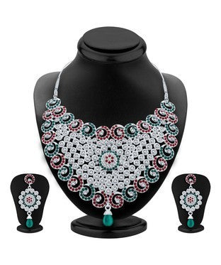 Sukkhi Gleaming Rhodium Plated AD Necklace Set For Women