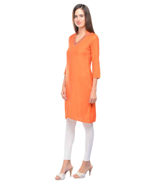 KAVYANI Orange Rayon Kurti-WE684_ORANGE