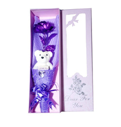 Purple Rose 25 cm with Beautiful Teddy with Message I Love You and Beautiful Pink Box Packing $ GSI-130-1