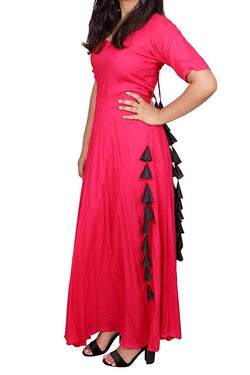 Libas Closet Fashion Printed Designer Rayon Cotton Mix Tassels Floor Length Gown Western wear A-Line Dress for Women/Girls- Latest Bollywood Readymade Western Dress Collection (Full Stiched) $ Libas Closet-019