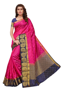 16to60trendz Pink and NavyBlue Tusar Silk Handloom Art Work Kanjivaram saree $ SVT00029