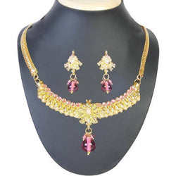 Tanishka Pink Pearl Gold Plated Necklace Set