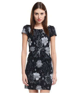 ALLISON TAYLOR Black and Grey SHORT DRESS