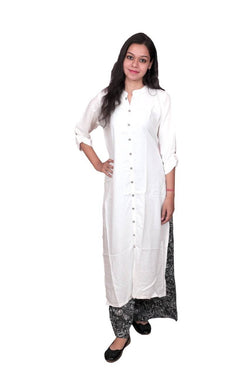Libas Kurti Palazo Dress,Cotton Dress,Long Kurti and Palazo Pure Rayon Fabric Long White Kurti with Printed Palazo $ Libas-067