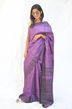 Purple and Black Bhagalpuri Khadi Silk Saree $ IWK-PRP-01