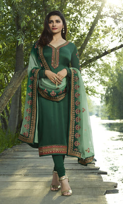 YOYO Fashion Green Georgette Straight Semi-Stitched Salwar Suit With Dupatta $ F1276