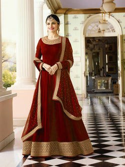 YOYO Fashion Latest Fancy Semi-stitched Faux Georgette Embroidered Anarkali Salwar Suit $YO-F1216-Red