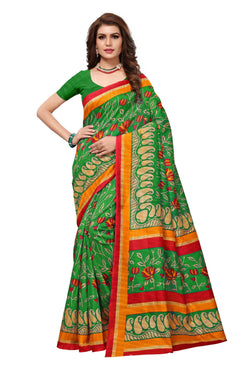 16TO60TRENDZ Green Color Printed Bhagalpuri Silk Saree $ SVT00470