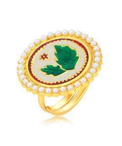 Sukkhi Sparkling Leaf Gold Plated Ring For Women