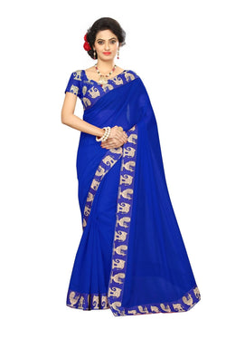 16to60trendz Blue Chanderi Lace Work Chanderi Saree $ SVT00084