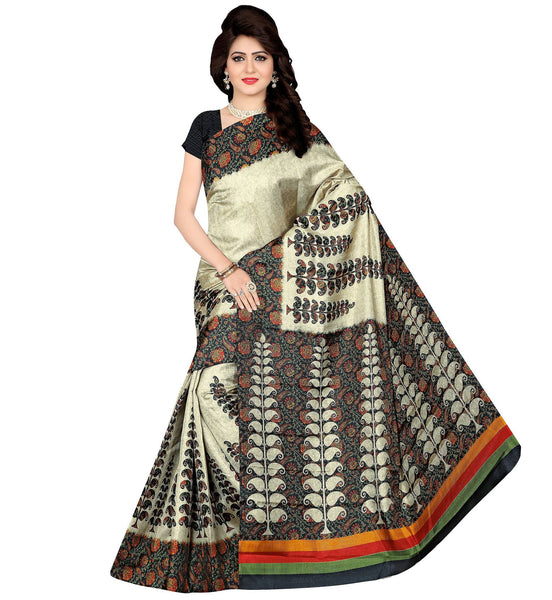 BL Enterprise Women's Bhagalpuri Cotton Silk White Color Saree With Blouse Piece $ BLLB-50
