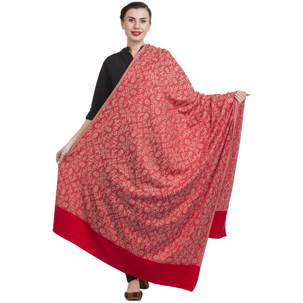 La Vastraa Women's Reversible Wool Blend Soft Feel Red Shawl-HKS0193