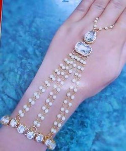 Gold Plated Glass Stone Three Layerd Kundan Hand ring chain Women's Bracelate $ AC0019