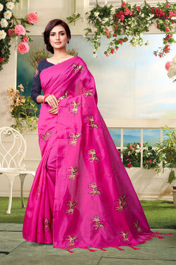 YOYO Fashion New Latest Joya silk Pink Embroidered Saree With Blouse $YOYO-SS-SARI2652