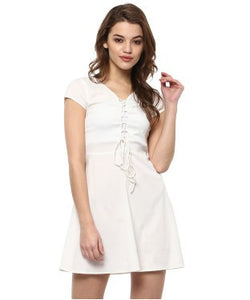 Miway White Solid Skater Dress