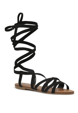 London Rag Women's Black  Lace Up Flat Sandals $ SH1563