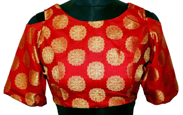 Stitch O Fab Red Brocade Cold sleeve Women Blouse-SOFcsrbwb149