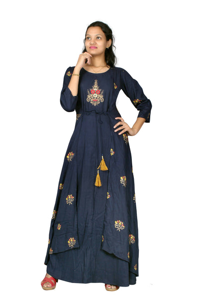 MV FASHION Reyon Cotton Embroidered & Printed Navy Blue Gown $ MV_G_1203-Blue