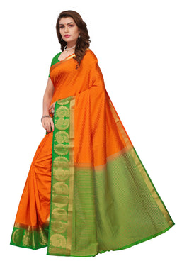 16to60trendz Orange and Green Tusar Silk Handloom Art Work Kanjivaram saree $ SVT00035