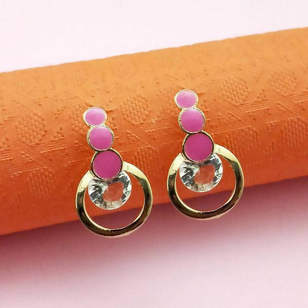 Tanishka Fashion Gold Plated Pink Meenakari Austrian Stone Stud Earrings $ 1312854E