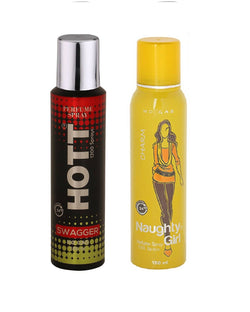 HOTT Mens SWHITE AMBERGGER & Naughty Girl CHROME - (Set of 2, No Gas Deodorant for Couple) (150ml each)