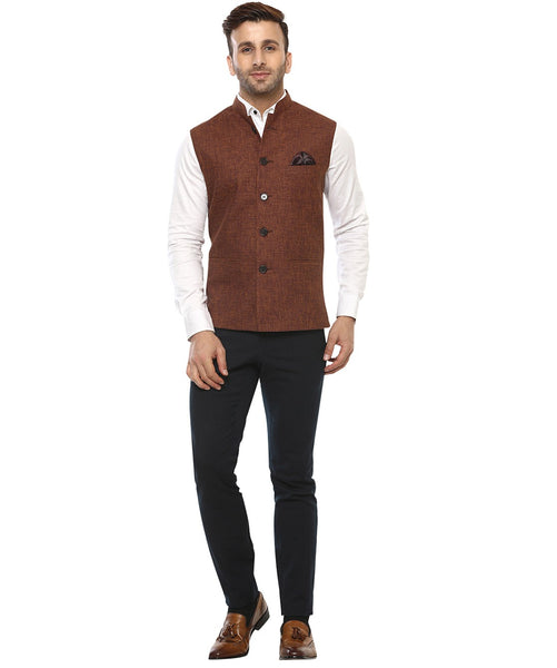 Lee Marc Jute Mustard Linen Cross Nehru Jacket